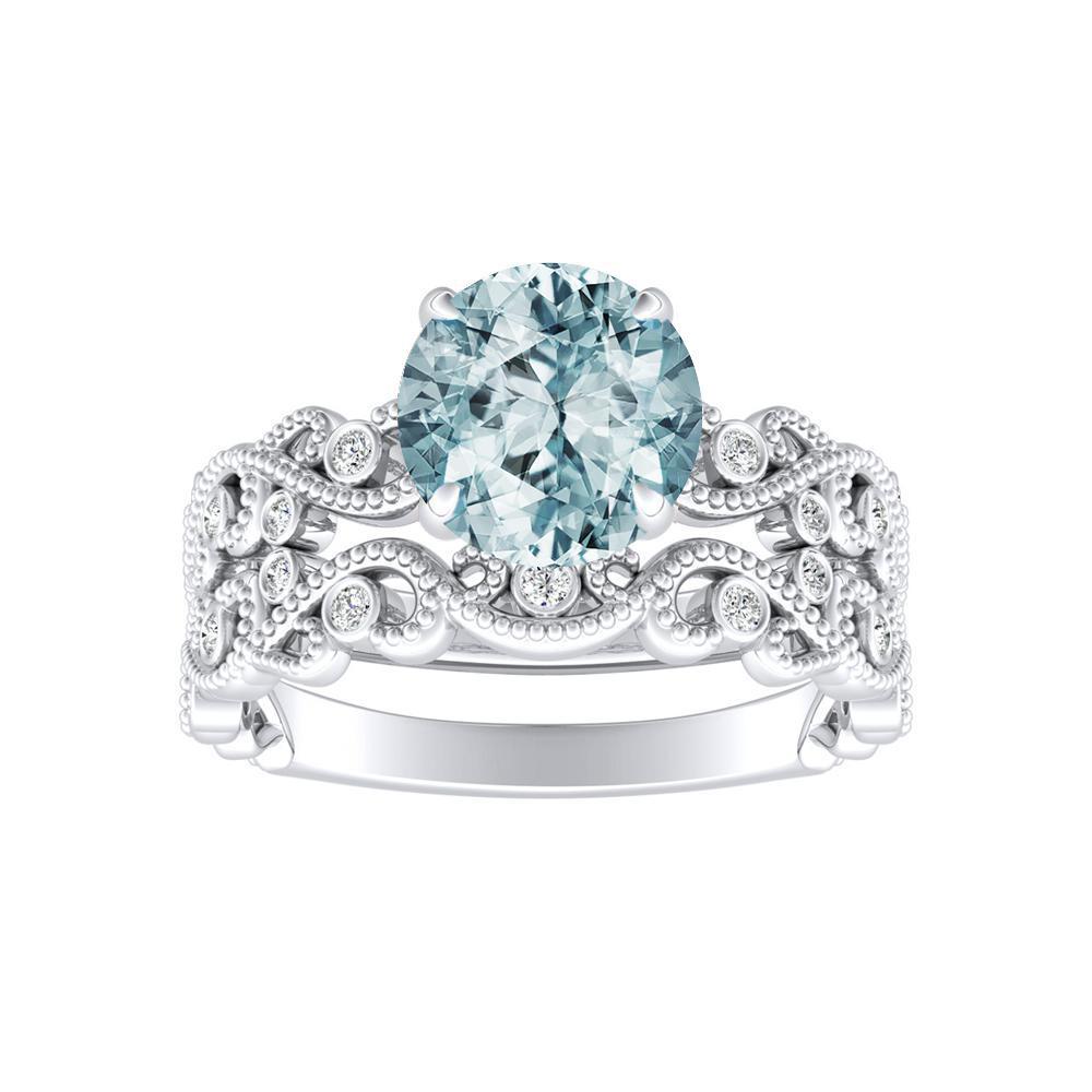 LILA Aquamarine Wedding Ring Set In 14K White Gold With 1.00 Carat Round Stone
