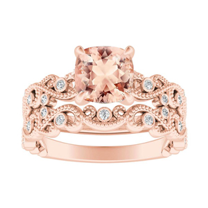 LILA  Morganite  Wedding  Ring  Set  In  14K  Rose  Gold  With  1.00  Carat  Cushion  Stone