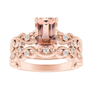 LILA  Morganite  Wedding  Ring  Set  In  14K  Rose  Gold  With  1.00  Carat  Emerald  Stone