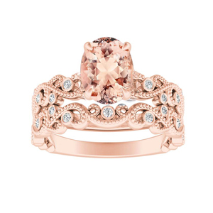 LILA  Morganite  Wedding  Ring  Set  In  14K  Rose  Gold  With  1.00  Carat  Oval  Stone