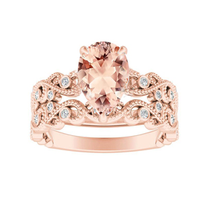 LILA  Morganite  Wedding  Ring  Set  In  14K  Rose  Gold  With  1.00  Carat  Pear  Stone