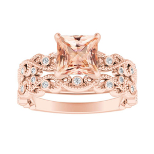 LILA  Morganite  Wedding  Ring  Set  In  14K  Rose  Gold  With  1.00  Carat  Princess  Stone