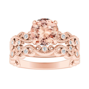 LILA  Morganite  Wedding  Ring  Set  In  14K  Rose  Gold  With  1.00  Carat  Round  Stone