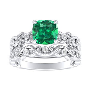 LILA  Green  Emerald  Wedding  Ring  Set  In  14K  White  Gold  With  0.50  Carat  Cushion  Stone