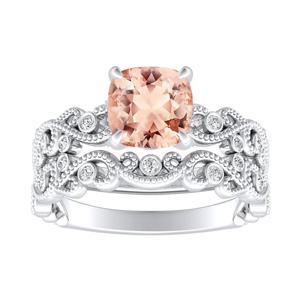 LILA  Morganite  Wedding  Ring  Set  In  14K  White  Gold  With  1.00  Carat  Cushion  Stone
