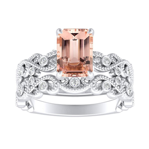 LILA  Morganite  Wedding  Ring  Set  In  14K  White  Gold  With  1.00  Carat  Emerald  Stone