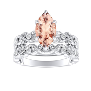 LILA  Morganite  Wedding  Ring  Set  In  14K  White  Gold  With  1.00  Carat  Marquise  Stone