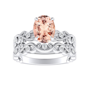 LILA  Morganite  Wedding  Ring  Set  In  14K  White  Gold  With  1.00  Carat  Oval  Stone