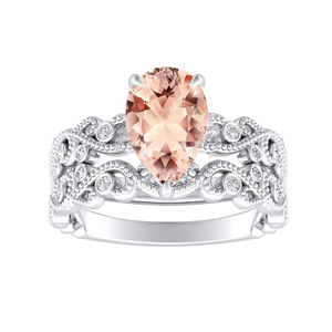 LILA  Morganite  Wedding  Ring  Set  In  14K  White  Gold  With  1.00  Carat  Pear  Stone