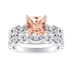 LILA  Morganite  Wedding  Ring  Set  In  14K  White  Gold  With  1.00  Carat  Princess  Stone