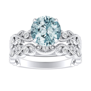 LILA Aquamarine Wedding Ring Set In 14K White Gold With 1.00 Carat Round Stone