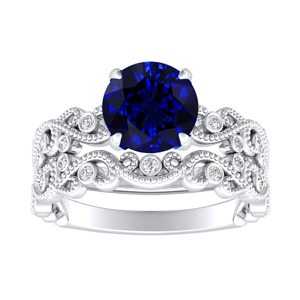 LILA  Blue  Sapphire  Wedding  Ring  Set  In  14K  White  Gold  With  0.50  Carat  Round  Stone
