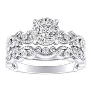 LILA Diamond Wedding Ring Set In 14K White Gold With 0.25 Carat Round Diamond In H-I SI1-SI2 Quality