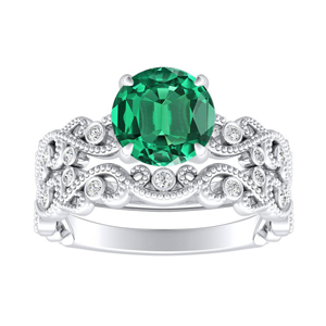 LILA  Green  Emerald  Wedding  Ring  Set  In  14K  White  Gold  With  0.50  Carat  Round  Stone