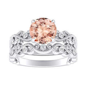 LILA Morganite Wedding Ring Set In 14K White Gold With 1.00 Carat Round Stone