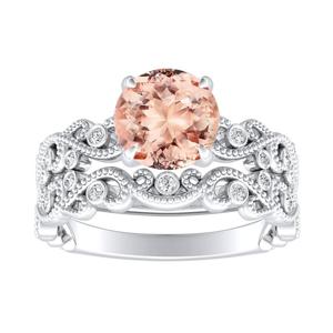 LILA  Morganite  Wedding  Ring  Set  In  14K  White  Gold  With  1.00  Carat  Round  Stone