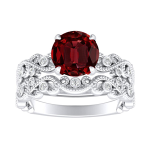<span>LILA</span> Ruby  Wedding  Ring  Set  In  14K  White  Gold  With  0.50  Carat  Round  Stone