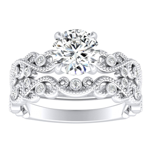 LILA Floral Diamond Wedding Ring Set In 14K White Gold