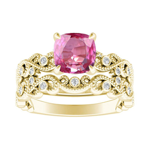 LILA  Pink  Sapphire  Wedding  Ring  Set  In  14K  Yellow  Gold  With  0.50  Carat  Cushion  Stone