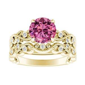 LILA  Pink  Sapphire  Wedding  Ring  Set  In  14K  Yellow  Gold  With  0.50  Carat  Round  Stone