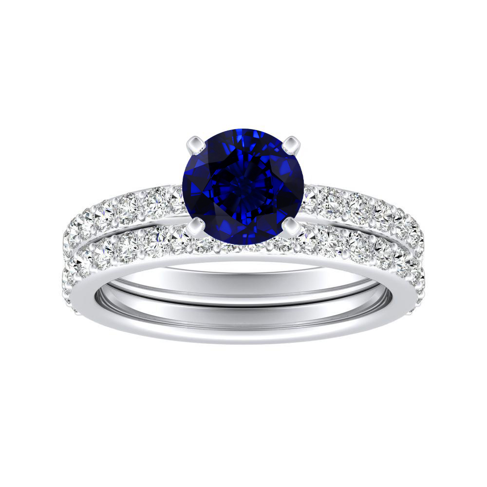 ELLA Classic Blue Sapphire Wedding Ring Set In 14K White Gold With 0.50 Carat Round Stone