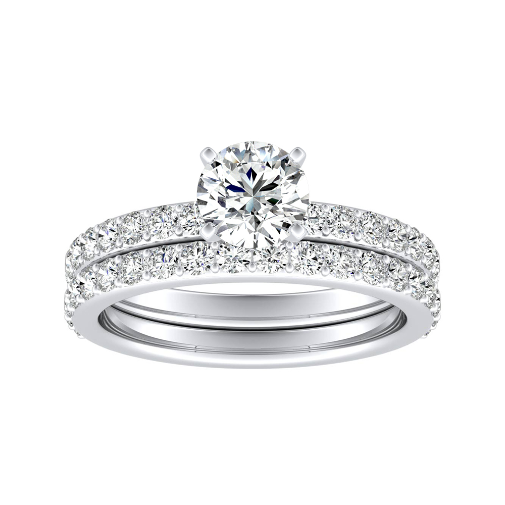 ELLA Classic Diamond Wedding Ring Set In 14K White Gold