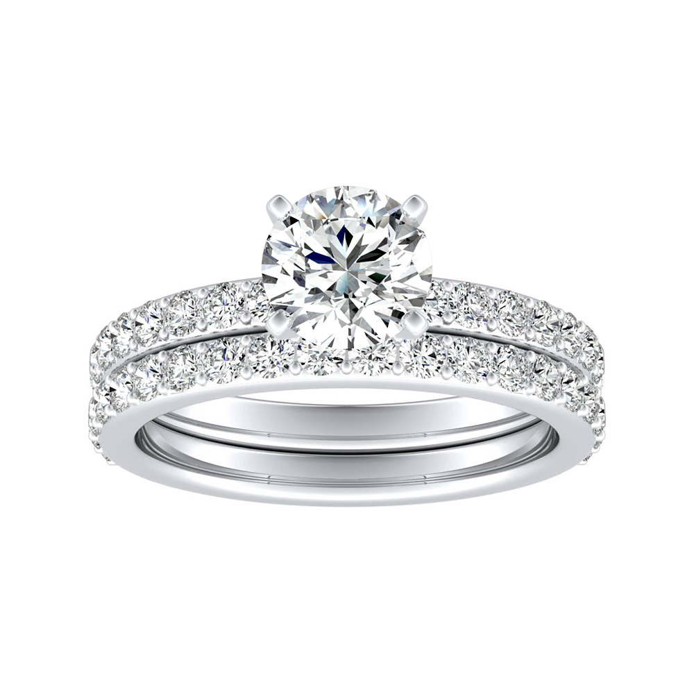 ELLA Classic Diamond Wedding Ring Set In 14K White Gold