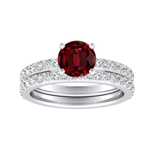 ELLA Classic Ruby Wedding Ring Set In 14K White Gold With 0.50 Carat Round  Stone