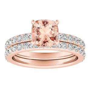 ELLA  Classic  Morganite  Wedding  Ring  Set  In  14K  Rose  Gold  With  1.00  Carat  Cushion  Stone