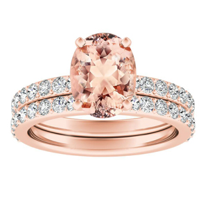 ELLA  Classic  Morganite  Wedding  Ring  Set  In  14K  Rose  Gold  With  1.00  Carat  Oval  Stone