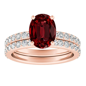Ruby Wedding Rings.Ella Classic Ruby Wedding Ring Set In 14k Rose Gold With 0 75 Carat Oval Stone