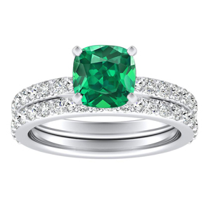 ELLA  Classic  Green  Emerald  Wedding  Ring  Set  In  14K  White  Gold  With  0.50  Carat  Cushion  Stone