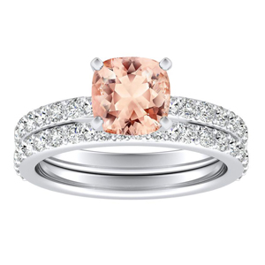 <span>ELLA</span> Classic  Morganite  Wedding  Ring  Set  In  14K  White  Gold  With  1.00  Carat  Cushion  Stone
