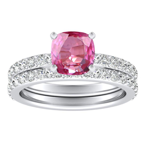 ELLA  Classic  Pink  Sapphire  Wedding  Ring  Set  In  14K  White  Gold  With  0.50  Carat  Cushion  Stone