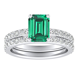 ELLA  Classic  Green  Emerald  Wedding  Ring  Set  In  14K  White  Gold  With  0.50  Carat  Emerald  Stone