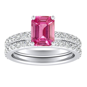 ELLA  Classic  Pink  Sapphire  Wedding  Ring  Set  In  14K  White  Gold  With  0.50  Carat  Emerald  Stone