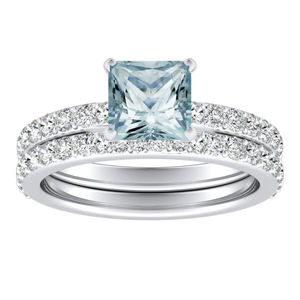 ELLA  Classic  Aquamarine  Wedding  Ring  Set  In  14K  White  Gold  With  1.00  Carat  Princess  Stone