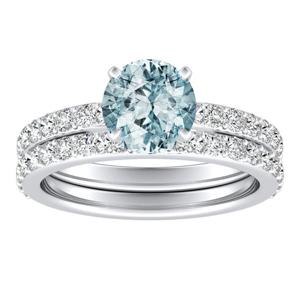 ELLA  Classic  Aquamarine  Wedding  Ring  Set  In  14K  White  Gold  With  1.00  Carat  Round  Stone