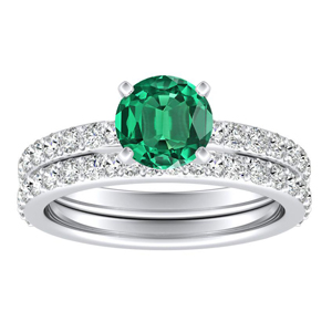 ELLA  Classic  Green  Emerald  Wedding  Ring  Set  In  14K  White  Gold  With  0.50  Carat  Round  Stone