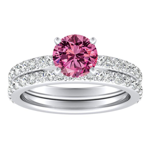 ELLA  Classic  Pink  Sapphire  Wedding  Ring  Set  In  14K  White  Gold  With  0.50  Carat  Round  Stone