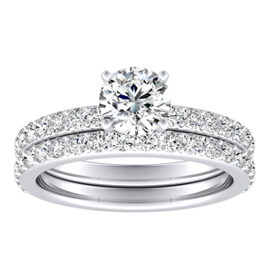 ELLA Classic Diamond Wedding Ring Set In 14K White Gold With 0.50ct. Round Diamond
