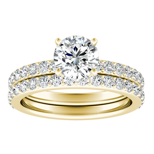 ELLA  Classic  Moissanite  Wedding  Ring  Set  In  14K  Yellow  Gold  With  0.50  Carat  Round  Stone