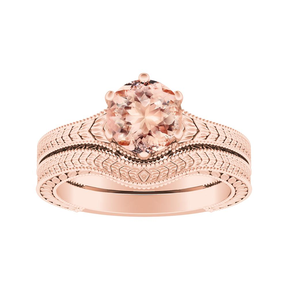 REAGAN Solitaire Morganite Wedding Ring Set In 14K Rose Gold With 1.00 Carat Round Stone