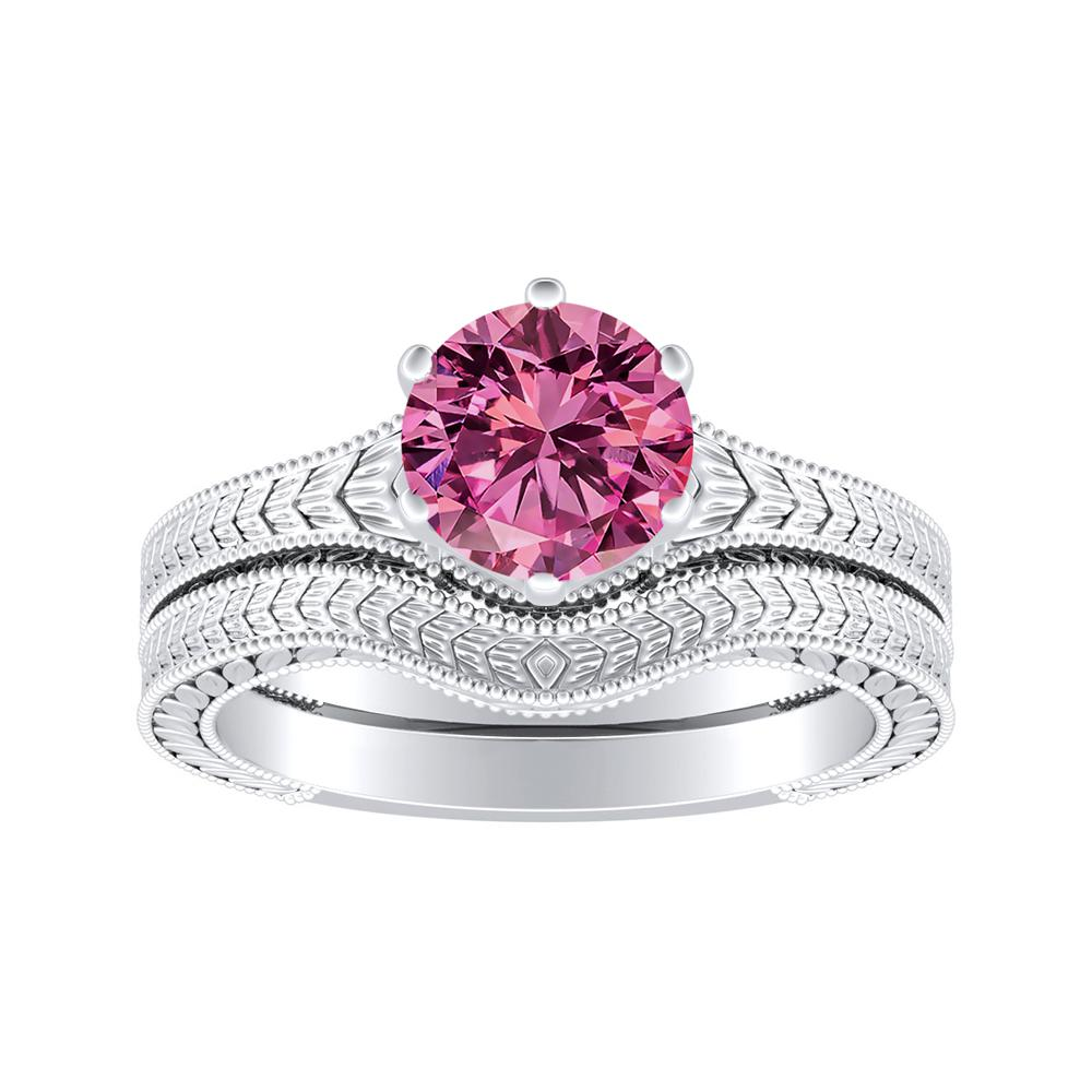 REAGAN Solitaire Pink Sapphire Wedding Ring Set In 14K White Gold With 0.50 Carat Round Stone