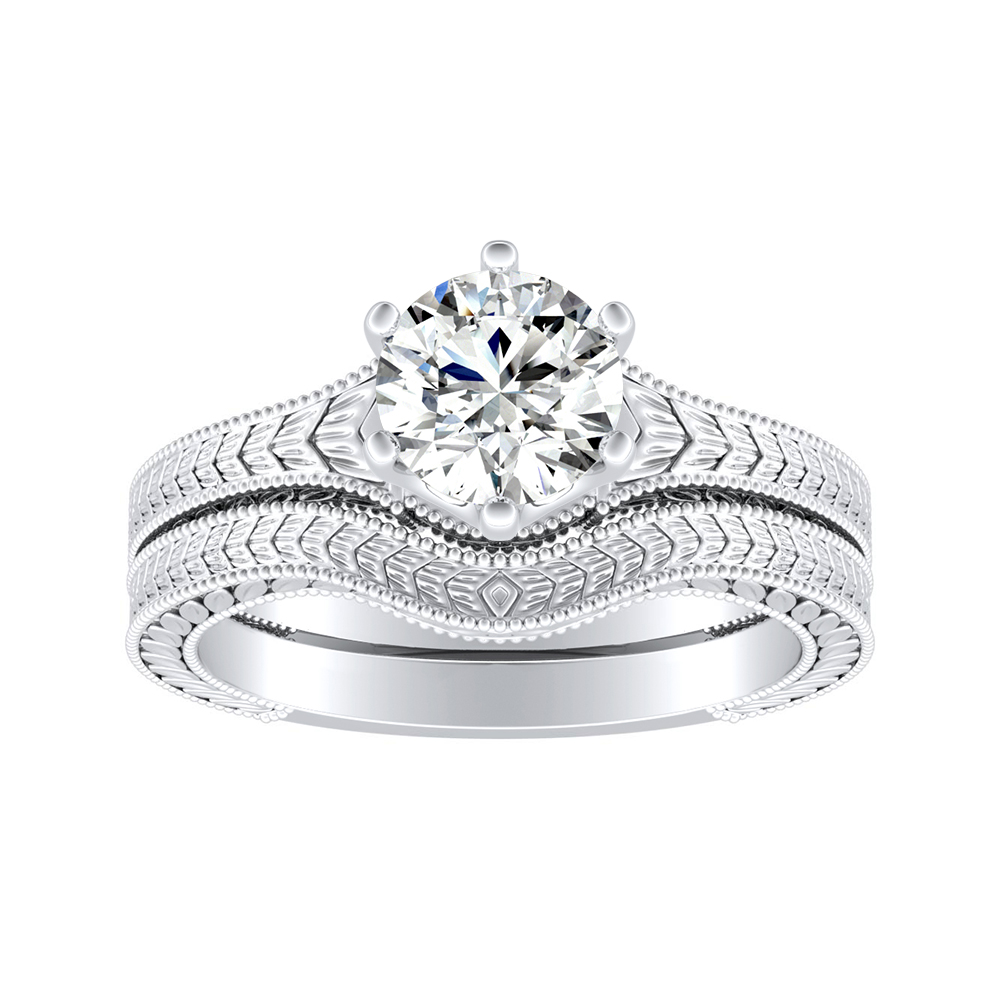 REAGAN Vintage Style Solitaire Diamond Wedding Ring Set In 14K White Gold