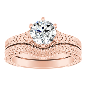 REAGAN Vintage Style Solitaire Bridal Set In 14K Rose Gold