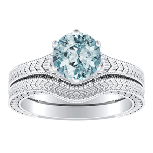 REAGAN  Solitaire  Aquamarine  Wedding  Ring  Set  In  14K  White  Gold  With  1.00  Carat  Round  Stone