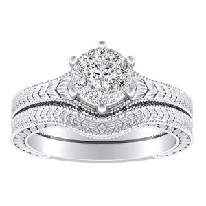 REAGAN Vintage Style Solitaire Diamond Wedding Ring Set In 14K White Gold With 0.25 Carat Round Diamond In H-I SI1-SI2 Quality