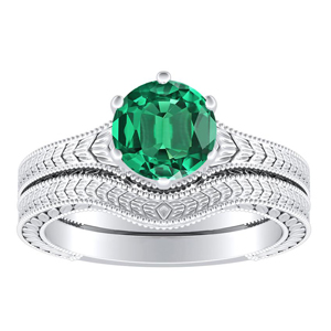REAGAN  Solitaire  Green  Emerald  Wedding  Ring  Set  In  14K  White  Gold  With  0.50  Carat  Round  Stone