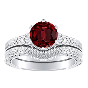 REAGAN  Solitaire  Ruby  Wedding  Ring  Set  In  14K  White  Gold  With  0.50  Carat  Round  Stone
